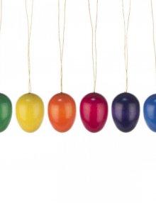 6 Ostereier, Holzeier, einfarbig ** Neu 2016 **