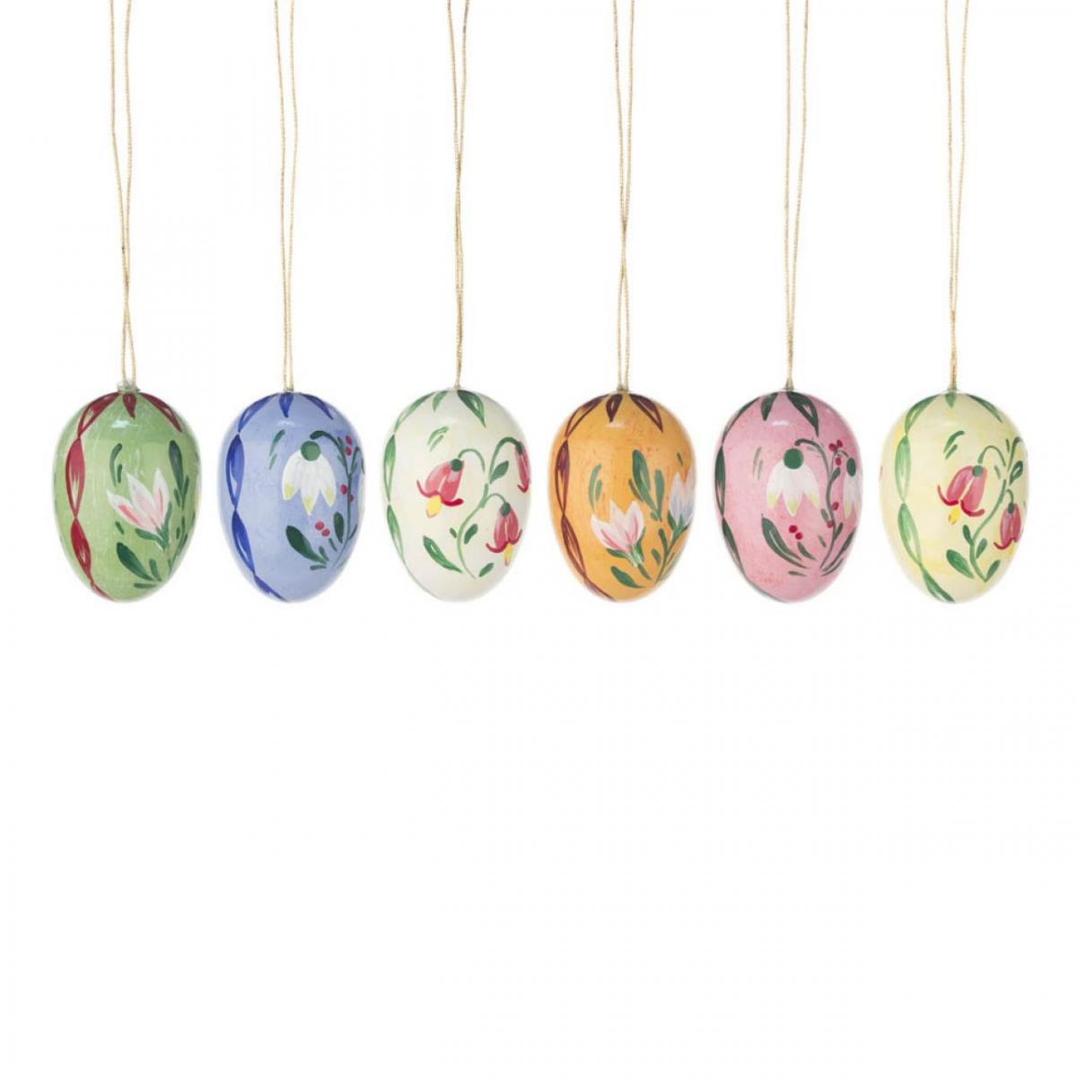 6 Ostereier, Holzeier mit Blumenmotiven ** Neu 2016 **