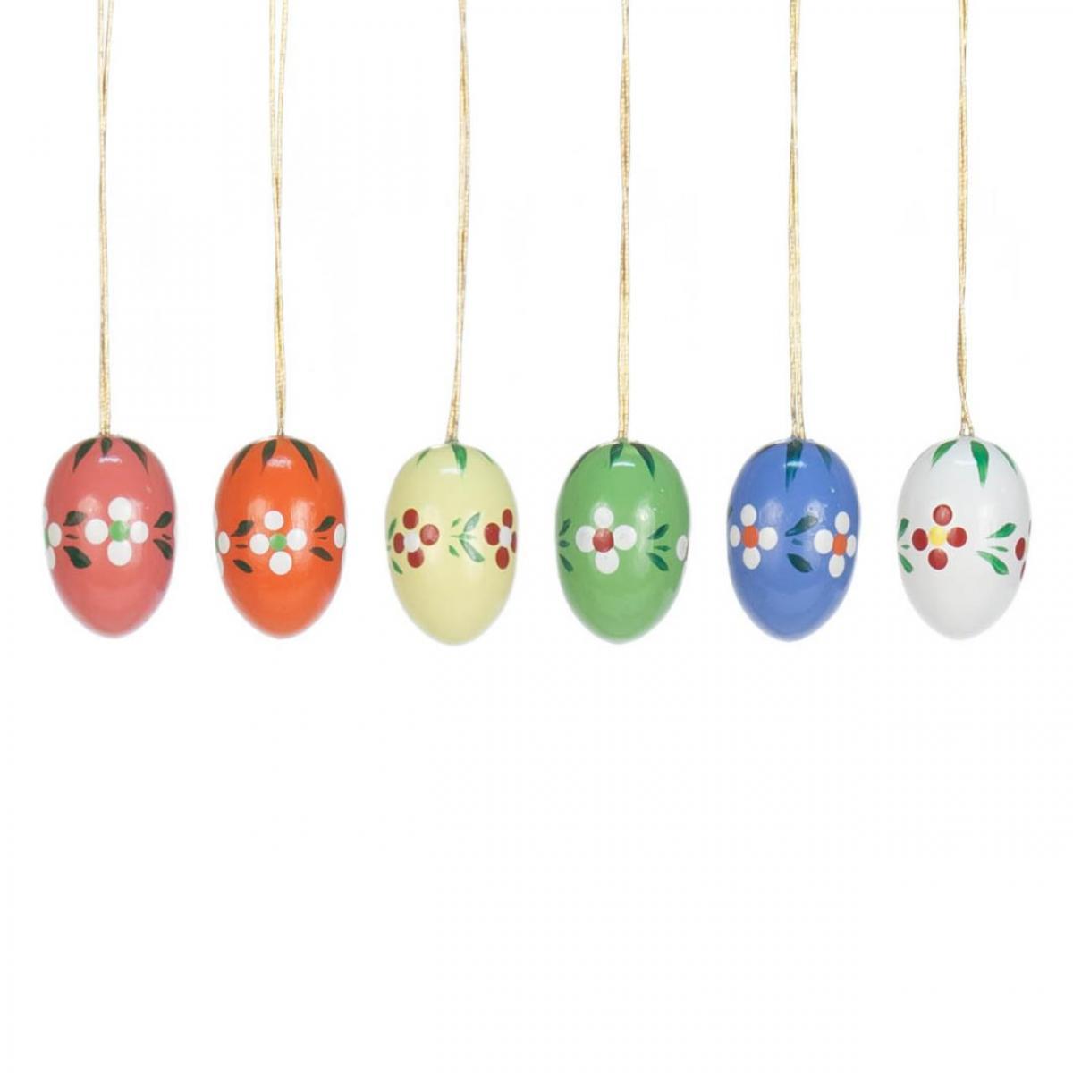 6 Ostereier, Holzeier mit Blumen ** Neu 2016 **
