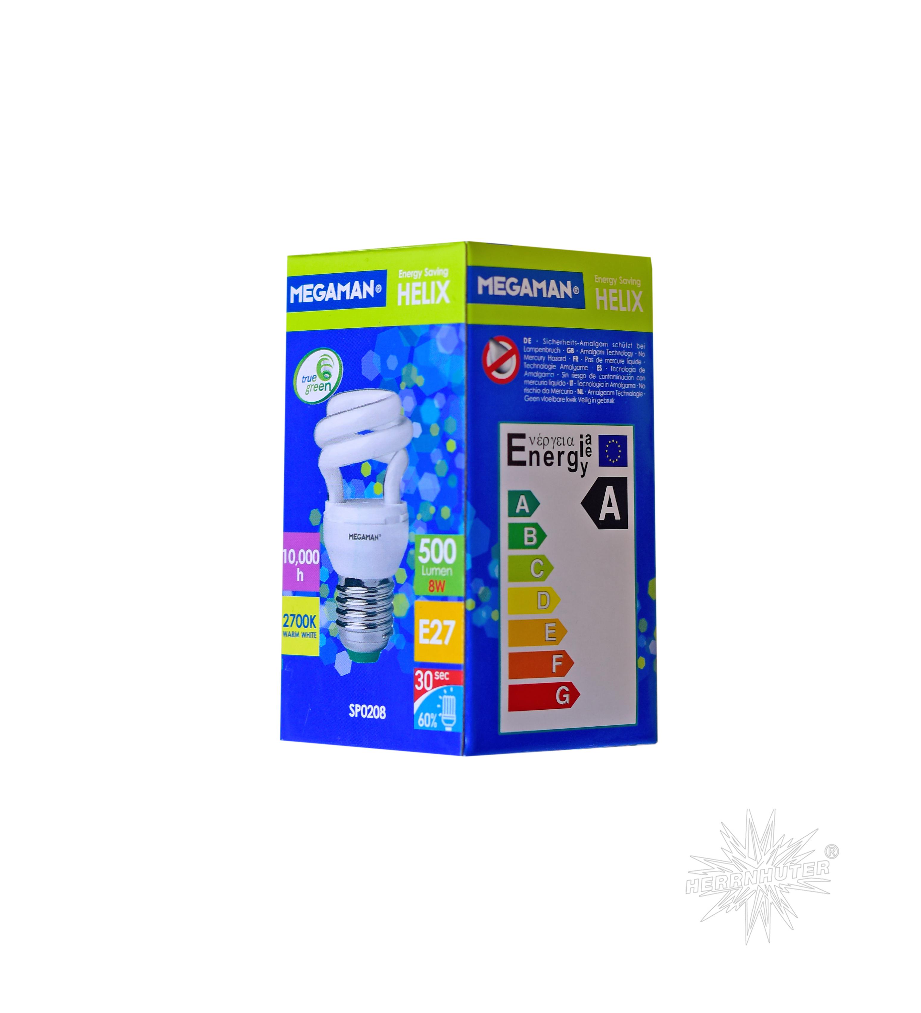 Energiesparlampe E 27, 8 Watt