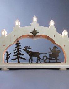 """Schwibbogen rustikal """"Weihnachtsmann auf Schlitten"""" **Neu 2016**"""