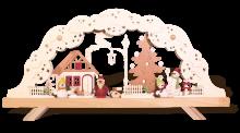 Schwibbogen mit Schneemann und Weihnachtsmann