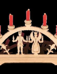 "Mini-Schwibbogen ""Engel & Bergmann"" rote Kerzen"