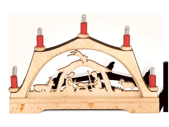 """Mini-Schwibbogen """"Christi Geburt"""" mit elektr. Kerzen"""