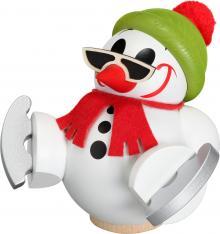 Kugelräucherfigur Cool-Man mit Schlittschuh, weiß
