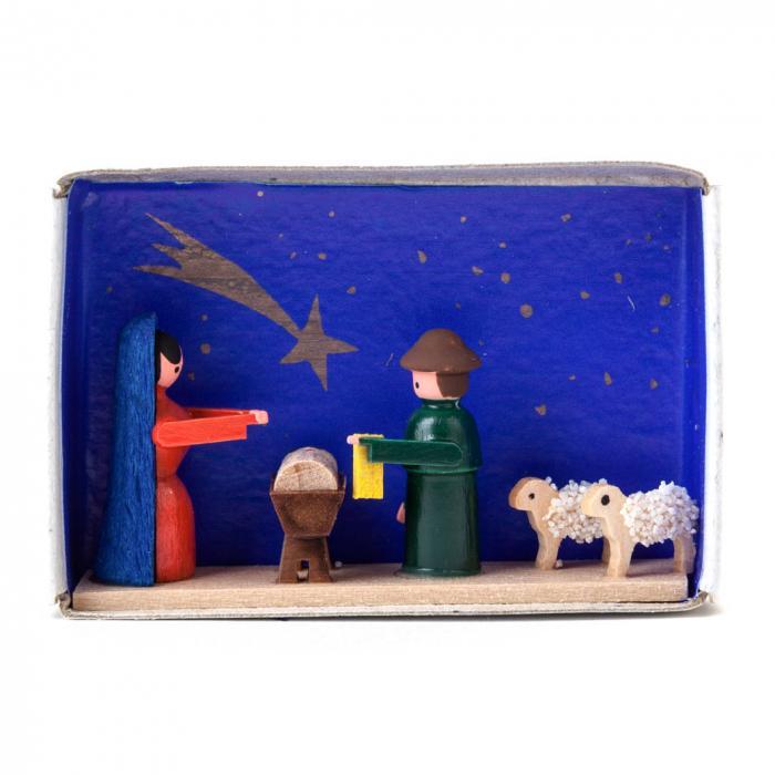 Miniatur in der Zündholzschachtel - Krippe