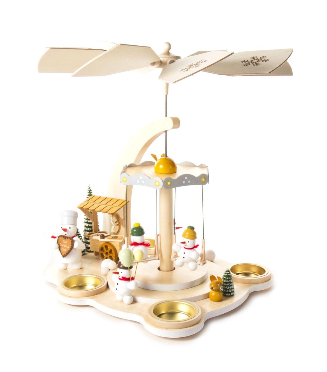 """Pyramide """"Schneemann-Karussell"""" für Teelichter **Neu 2016**"""