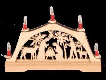 Mini-Schwibbogen Palmenkrippe mit elektr. Kerzen