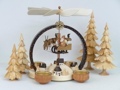 """Pyramide """"Weihnachtszauber"""" natur, für Teelichter **Neu 2016**"""