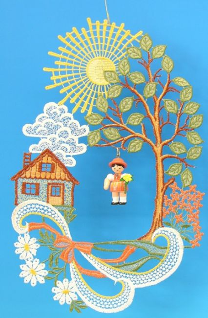 Fensterbild, Plauener Spitze, Haus mit Sonne und Blumenmädchen ** Neu 2016 **
