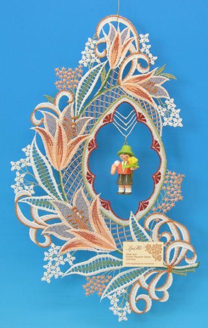 Fensterbild, Plauener Spitze, Lilie bunt mit Blumenjunge ** Neu 2016 **