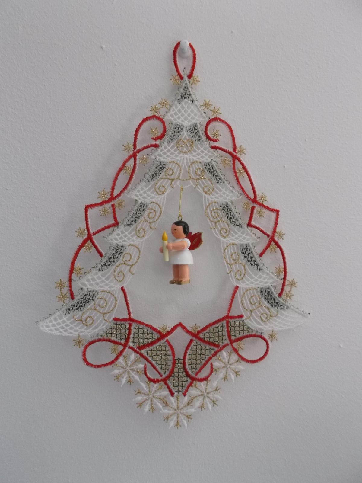 Fensterbild plauener spitze tannenbaum mit engel neu - Plauener spitze fensterbild ...
