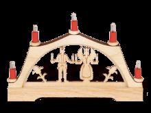 """Mini-Schwibbogen """"Engel & Bergmann"""" mit elektr. Kerzen"""