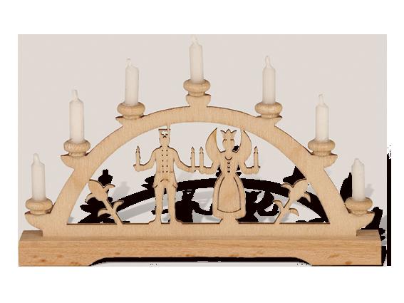 "Mini-Schwibbogen ""Engel & Bergmann"" weiße Kerzen"