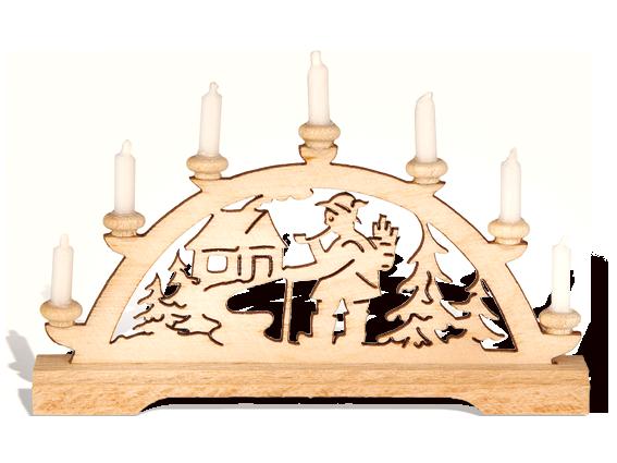 """Mini-Schwibbogen """"Räuchermann"""" mit weißen Kerzen"""