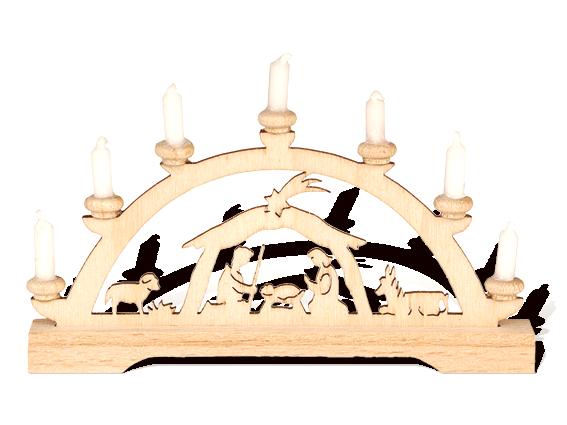 """Mini-Schwibbogen """"Christi Geburt"""" mit weißen Kerzen"""