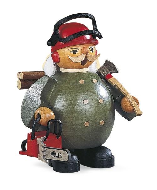 Räuchermann Waldarbeiter mit Motorsäge