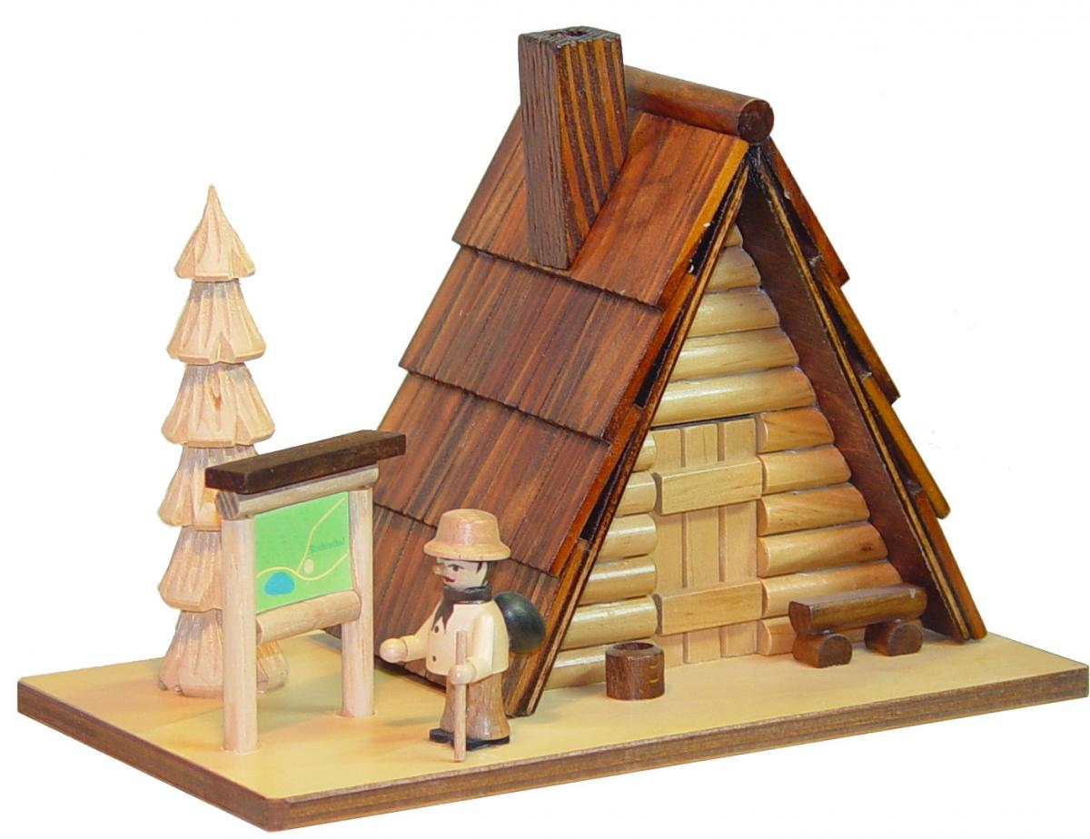 """Räucherhaus """"Schutzhütte"""" mit Wanderer"""