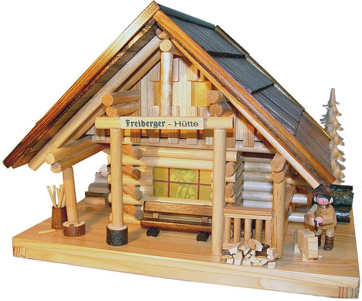"""Räucher- Lichterhaus """"Freiberger Hütte"""" mit Kettensäger"""