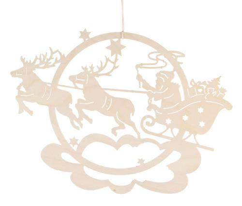 """Fensterbild """"Rentierschlitten mit Weihnachtsmann"""" **Neu 2016**"""