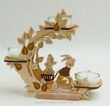 Teelichthalter Blütenkranz Hase mit Handwagen
