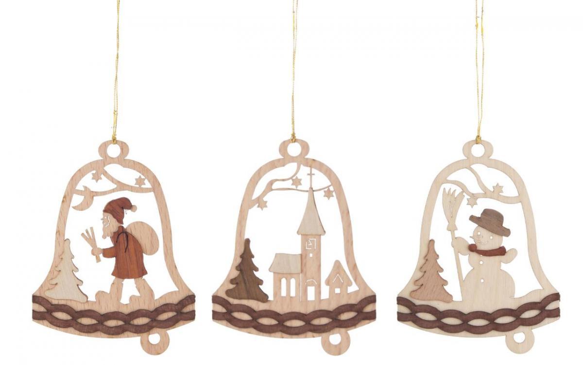 Behang Glocke mit Weihnachtsmotiven, 6 Stück