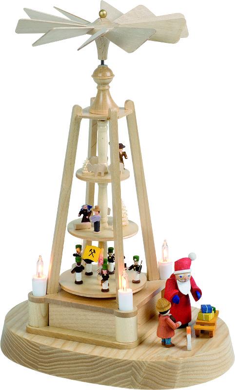 Pyramide Weihnachtlich mit Miniaturfiguren, elektrisch und Motor.