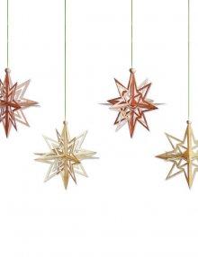 Baumschmuck Sterne, 4er Set in 3D Optik