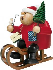 Räuchermann Weihnachtsmann auf Schlitten