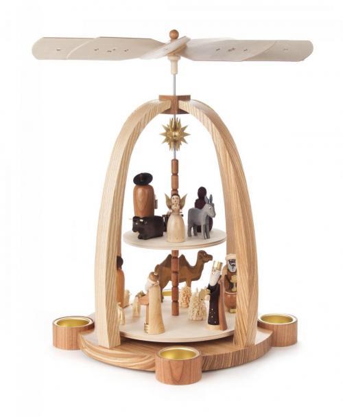Pyramide Christi Geburt 2-Etg für Teelichter natur