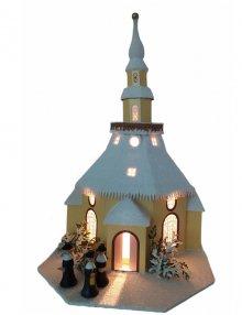 Lichterhaus Seiffener Kirche elektrisch beleuchtet