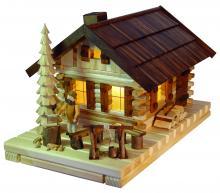 """Räucher- Lichterhaus """"Blockhütte"""" mit Figur"""