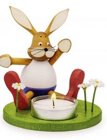 Kerzenhalter Schnupperhase Hans mit Licht