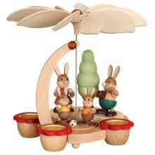 Osterpyramide Hasenfamilie für Teelichter