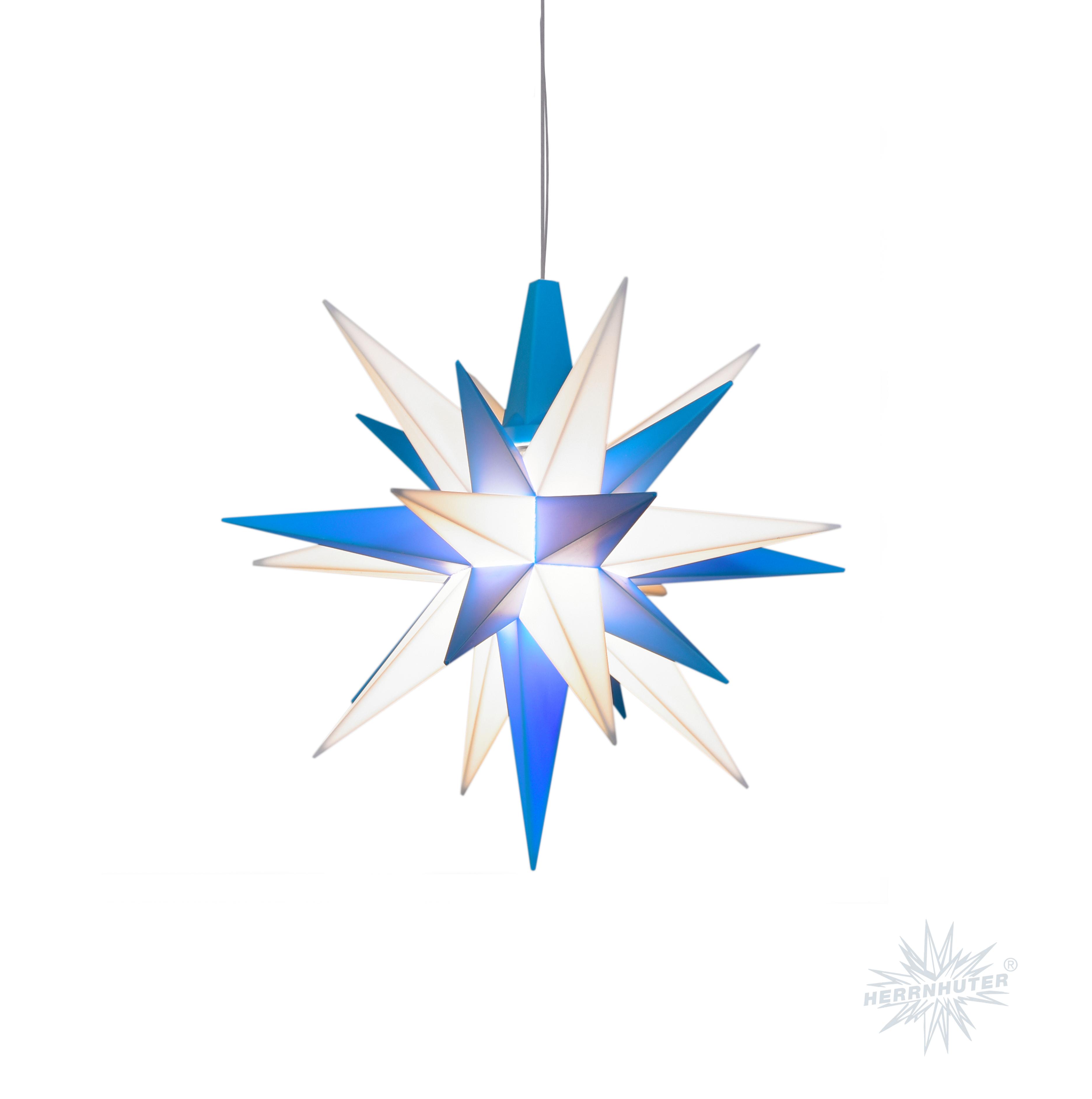 herrnhuter stern kunststoff 13cm blau wei inkl led erzgebirgskunst shop. Black Bedroom Furniture Sets. Home Design Ideas