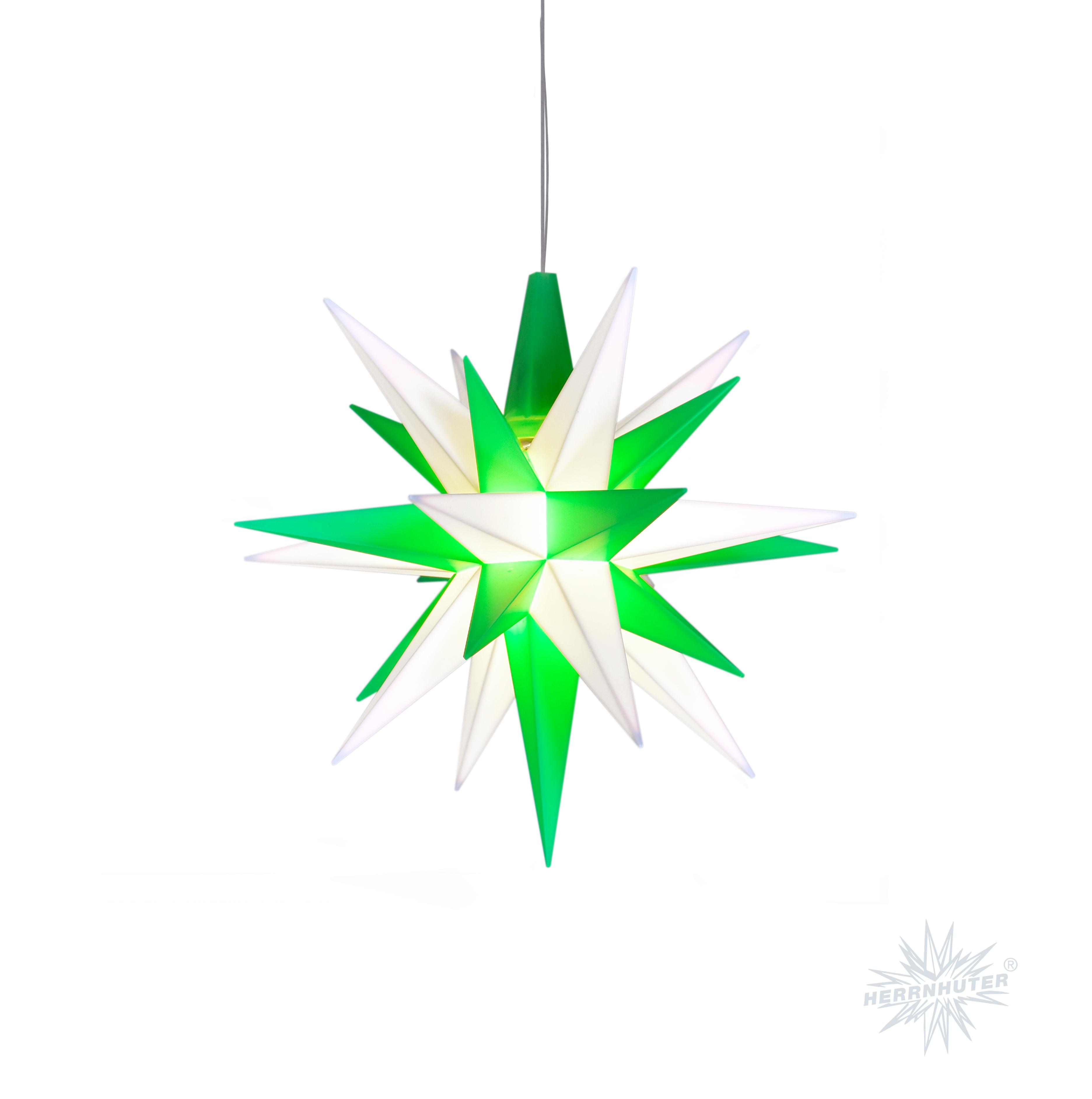Herrnhuter Stern Kunststoff 13cm grün/weiß
