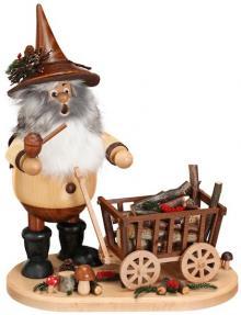 Räuchermann Waldwichtel mit Wagen