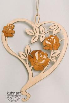 Fensterbild Herz mit Rosen