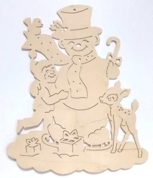 Fensterbild Schneemann mit Kind und Kitz