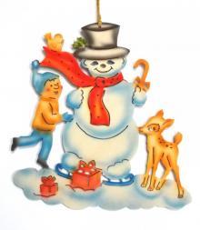 Fensterbild Schneemann mit Kind und Kitz, farbig