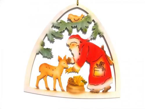 Fensterbild Weihnachtsmann mit Reh, farbig