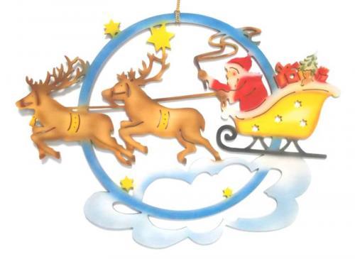 Fensterbild Weihnachtsmann mit Rentierschlitten, farbig