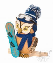 Räucherfigur Eule mit Snowboard