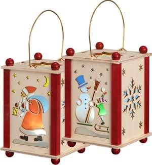 Erzgebirgische Laterne Weihnachtsmann und Schneemann