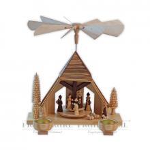 Pyramide Krippenhaus gesandelt für Teelichter