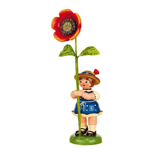 Blumenkind Mädchen mit Mohnblume