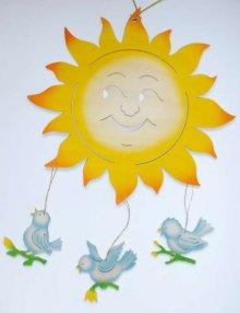 Fensterbild Sonne mit Vögel, farbig
