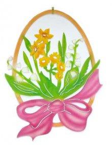 Fensterbild Ei mit Blumen, farbig
