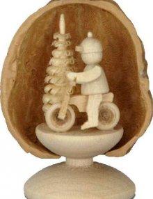 Miniatur Radfahrer in Walnussschale