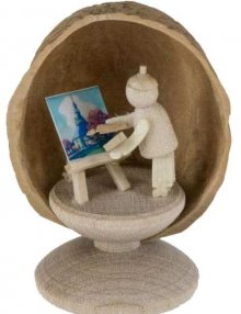 Miniatur Maler in Walnussschale